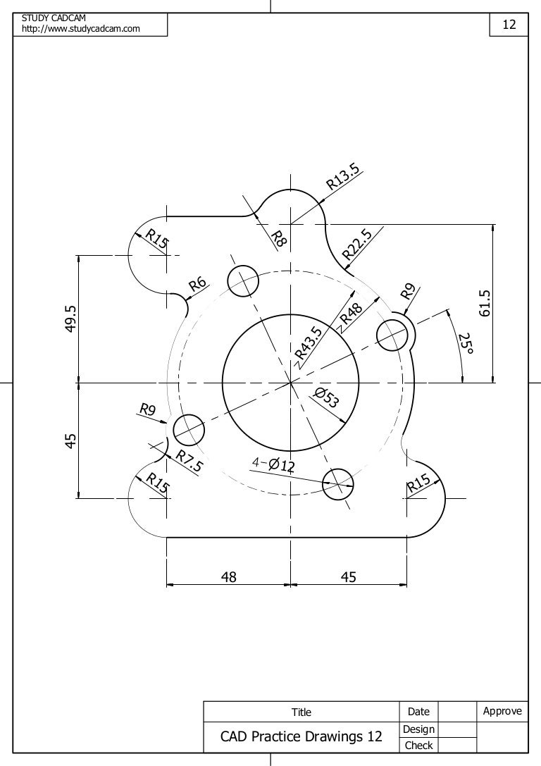 Cad practice drawings 12