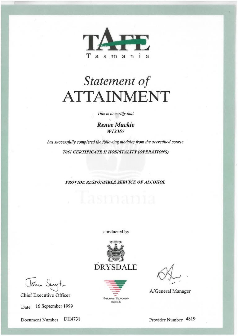 Responsible Service Of Alcohol Certificate