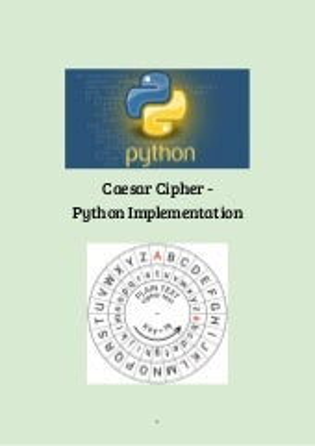 Fundamentals of Cryptography - Caesar Cipher - Python
