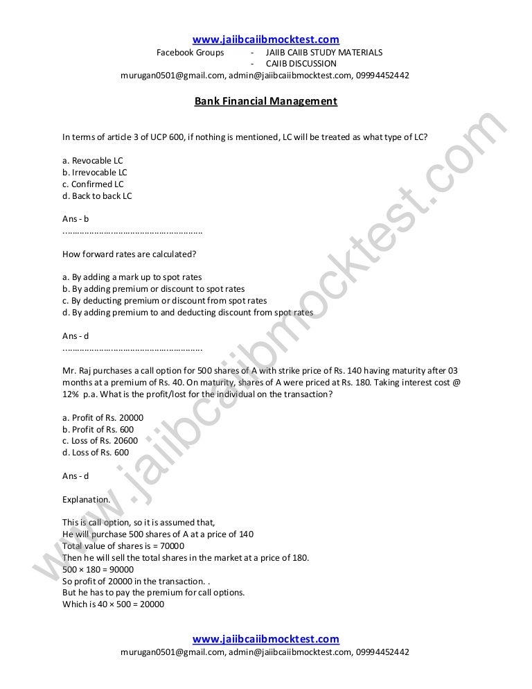 Caiib Bfm Sample Questions By Murugan For Nov 14 Exams