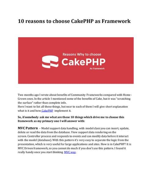 10 reasons to choose CakePHP as Framework