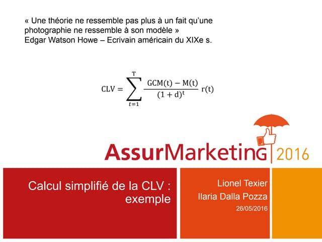Calcul de CLV en assurance : exemple simplifié de modèlisation