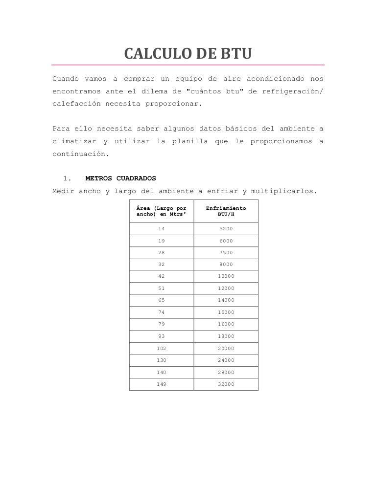Calculo de btu for Cuantas tilapias por metro cubico