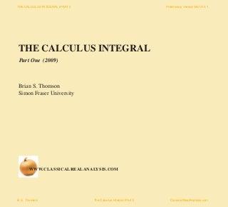 THE CALCULUS INTEGRAL (Beta Version 2009)