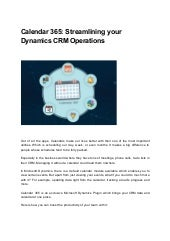 Calendar 365  streamlining your dynamics crm operations