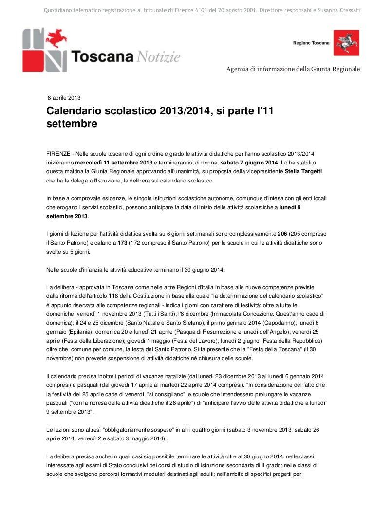Regione Toscana Calendario Scolastico.Calendario Scolastico 20132014 Approvato Si Parte L11 Settembre