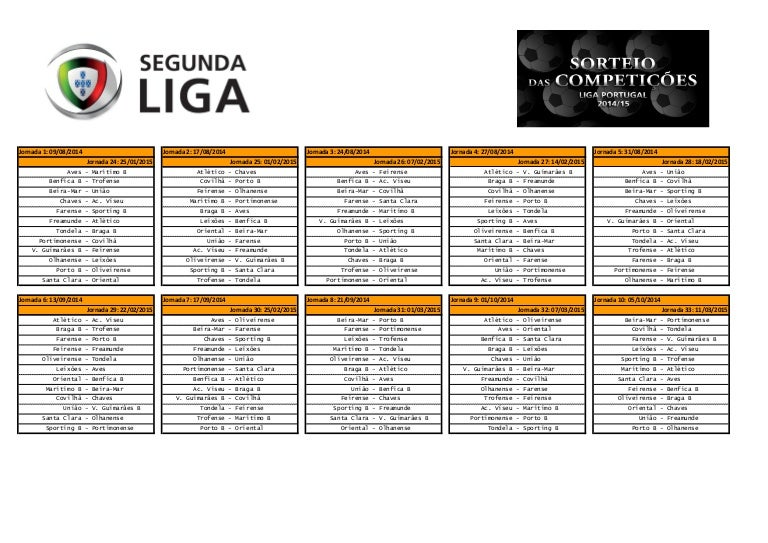 Calendario Primeira Liga.Calendario Segunda Liga 2014 2015
