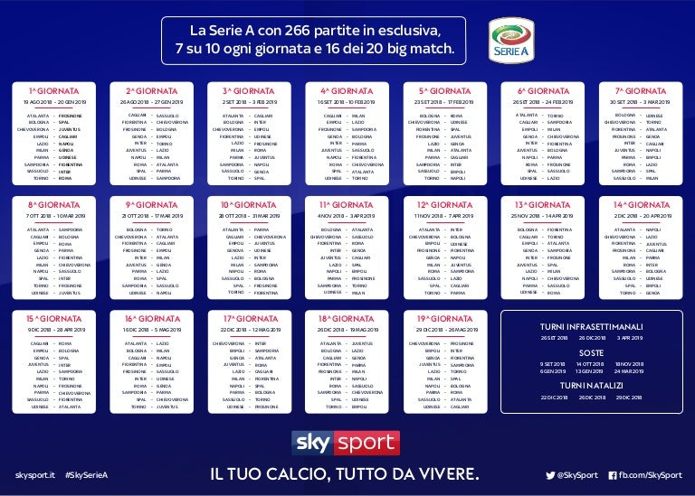 Calendario Serie A Calcio 2018 2019
