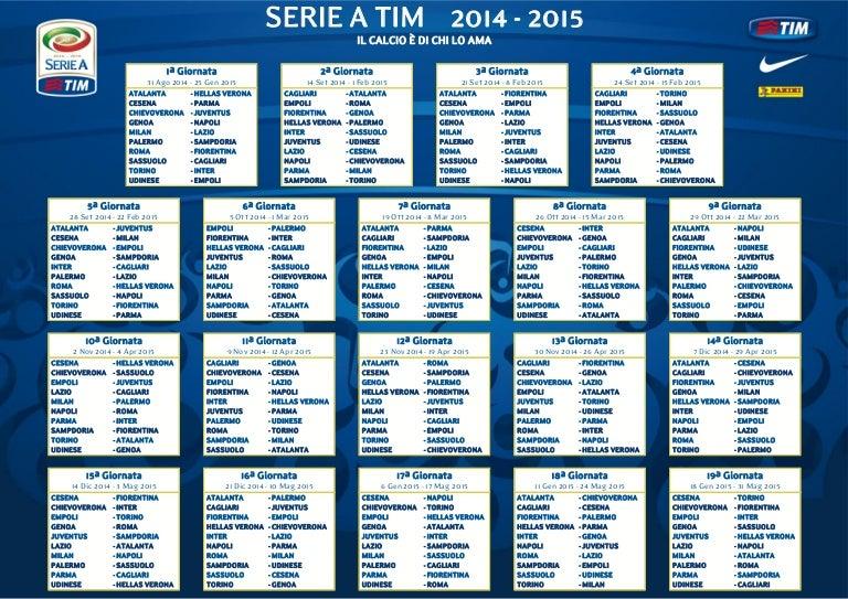 Palermo Calcio Calendario.Calendario Serie A Calcio 2014 2015
