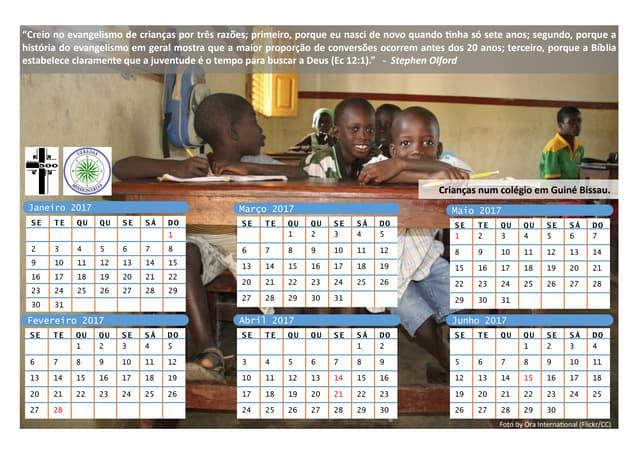 Calendário Evangélico Crianças 2017