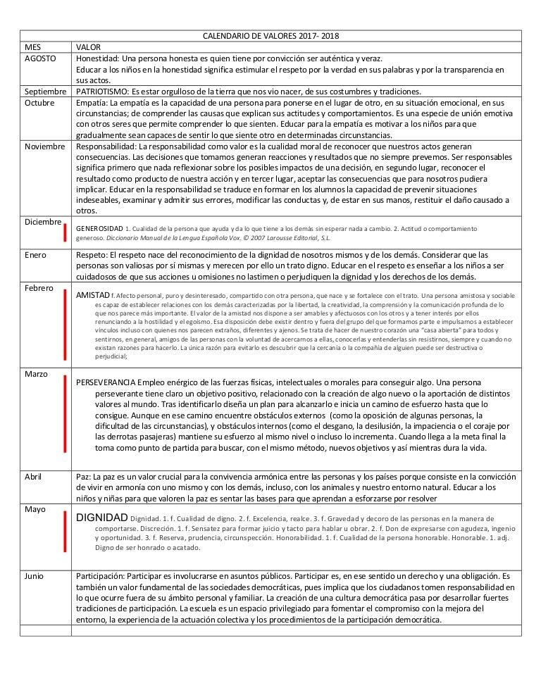 Calendario Escolar 2020 Panama Meduca.Calendario De Valores Escolar 17 18