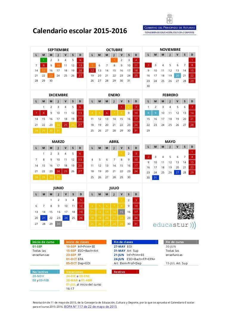 Calendario Escolar Asturias.Calendario Escolar 2015 2016