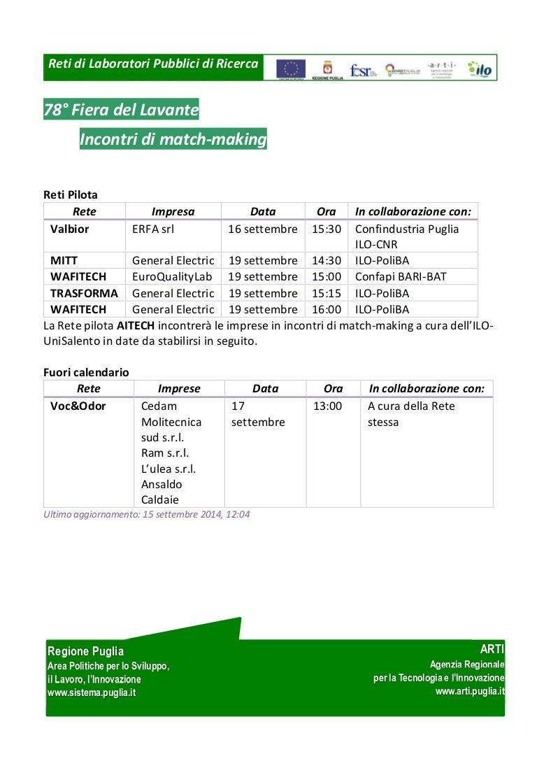 Poliba Calendario.Reti Di Laboratori Calendario Incontri Di Match Making