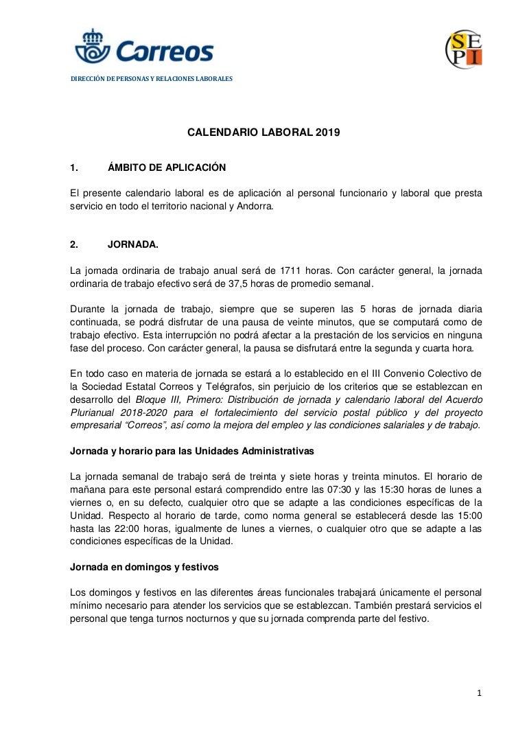 Calendario 2020 Portugues Com Feriados.Calendario Laboral Correos 2019