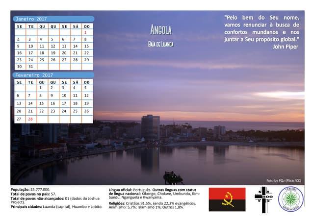 Calendário Missionário 2017
