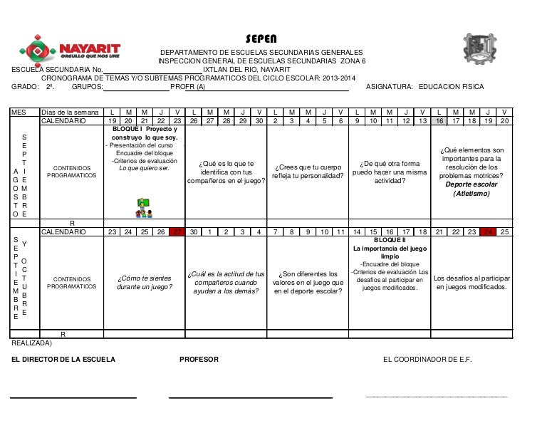 Calendarizacion Educación Física II (2013-2014)