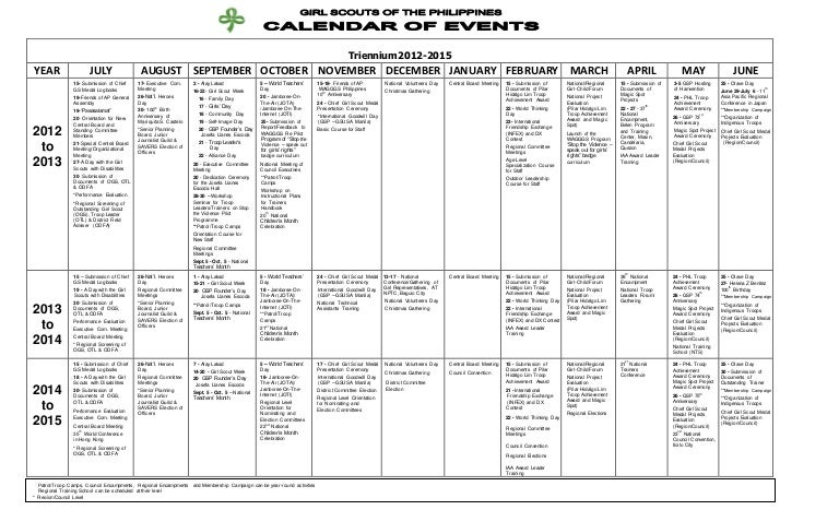 Calendar Of Activities In The Philippines  Calendar