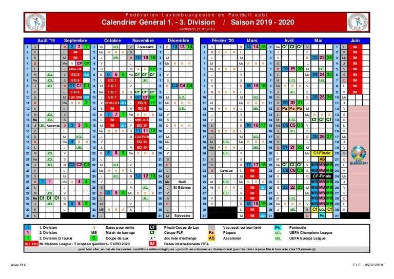 Calendrier Fifa 2019.Calendrier 1 3 Division 2019 2020 V 21012019