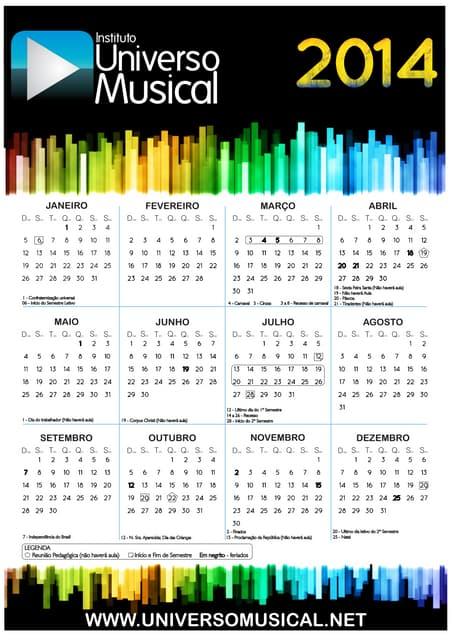 Calendário 2014   instituto universo musical