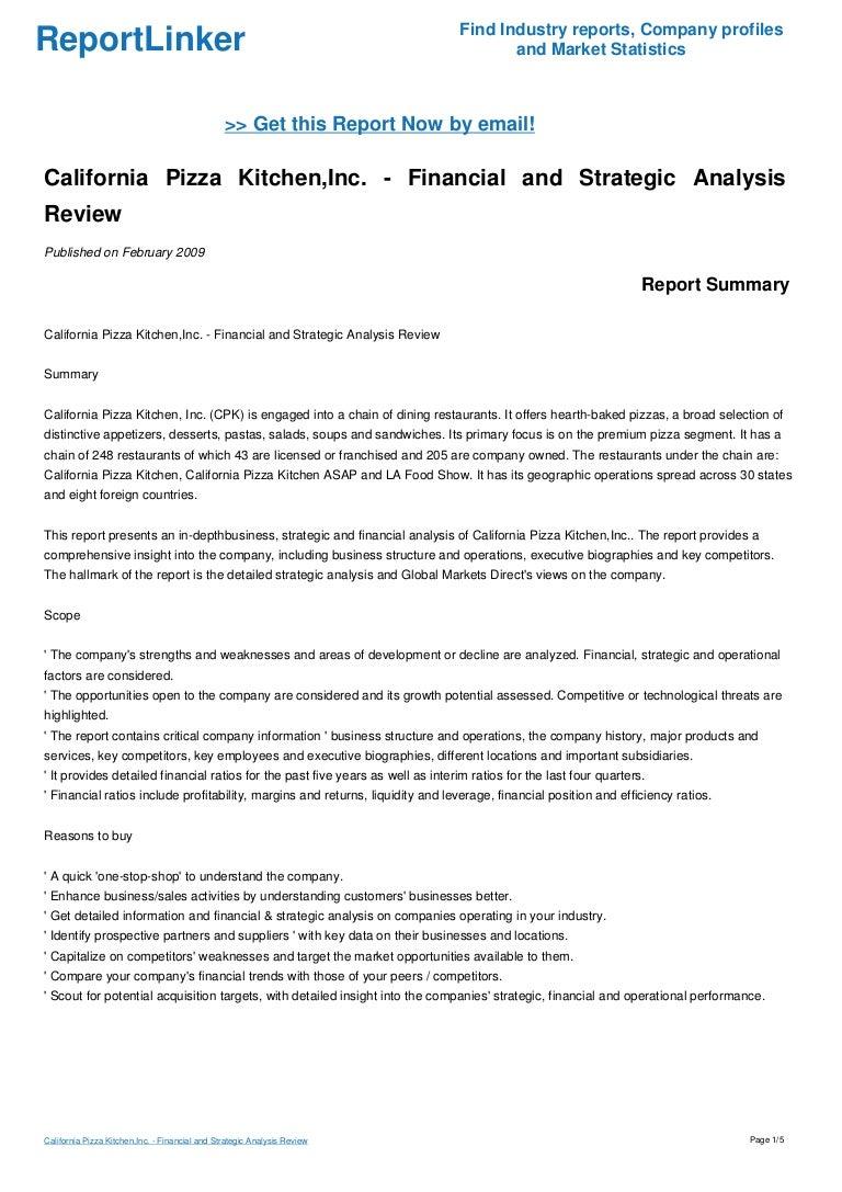 California Pizza Kitchen Inc Financial And Strategic Analysis Revi