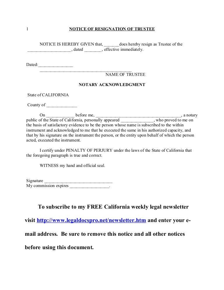 California notice of resignation of trustee