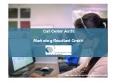 Call center audit marketing resultant