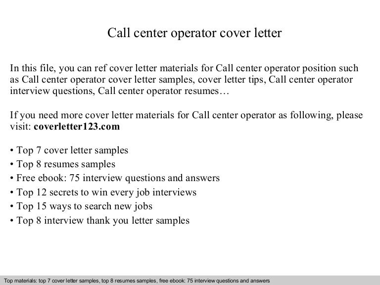 Call Center Operator Cover Letter