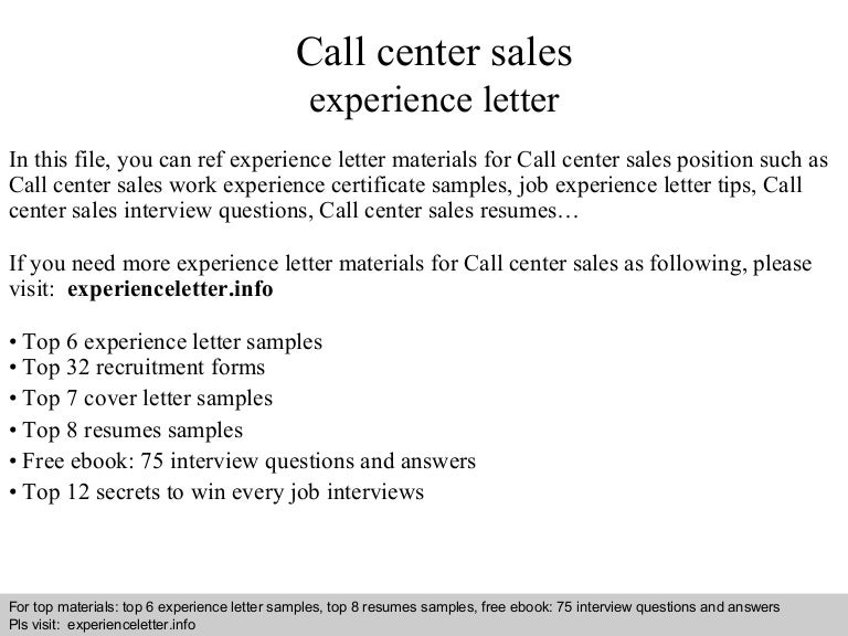 Call Center Sales Experience Letter