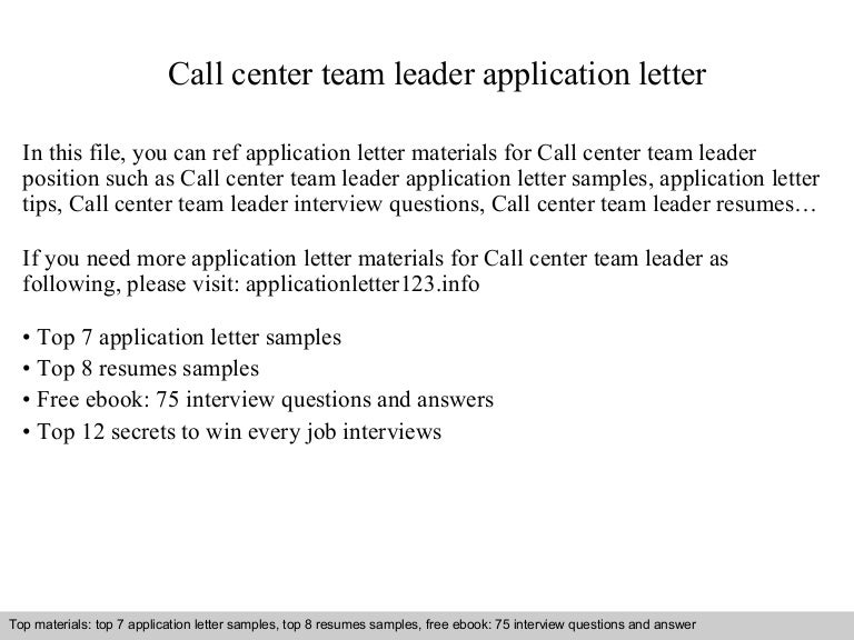 callcenterteamleaderapplicationletter 140904195046 phpapp01 thumbnail 4jpgcb1409860273 - Sample Resume For Leadership Position
