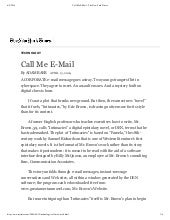 Call Me Email - The New York Times by Adam Baer