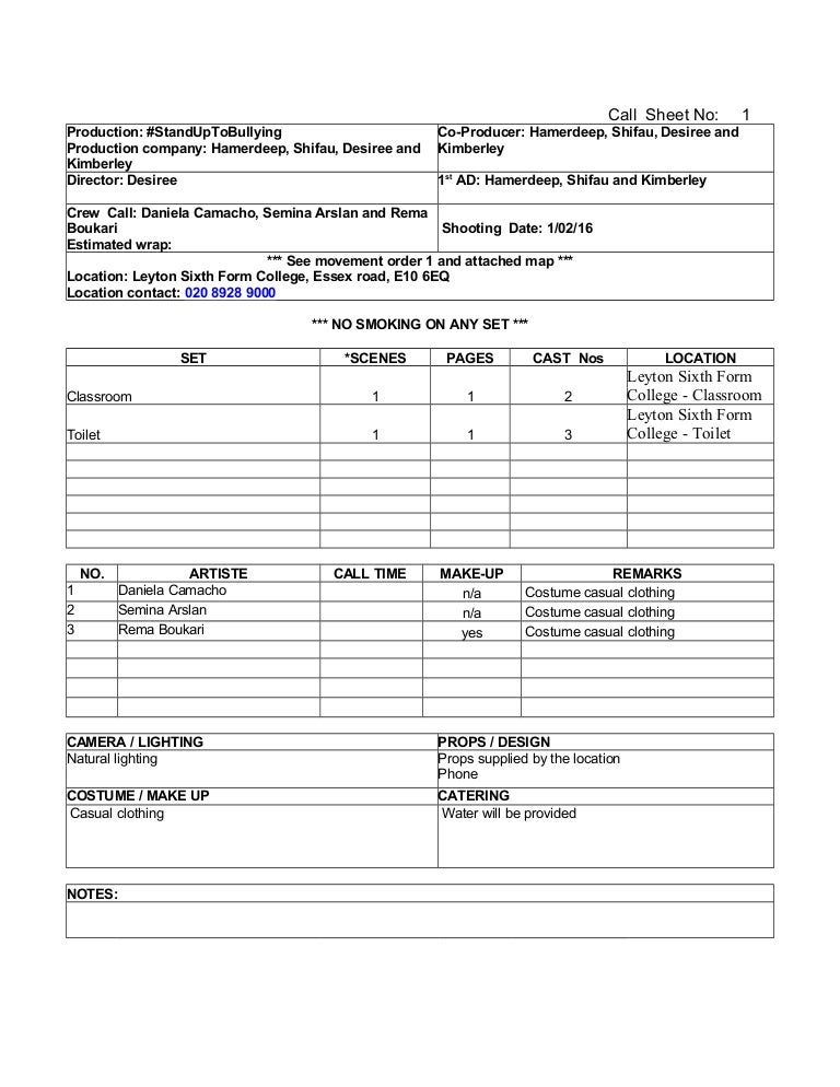 Call Sheet Blank Template