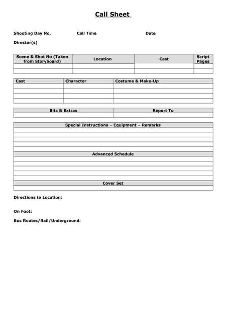 SlideShare  Call Sheet Example
