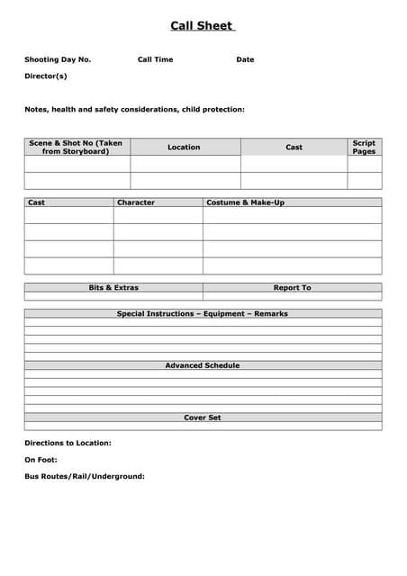SlideShare  Call Sheet Template Word