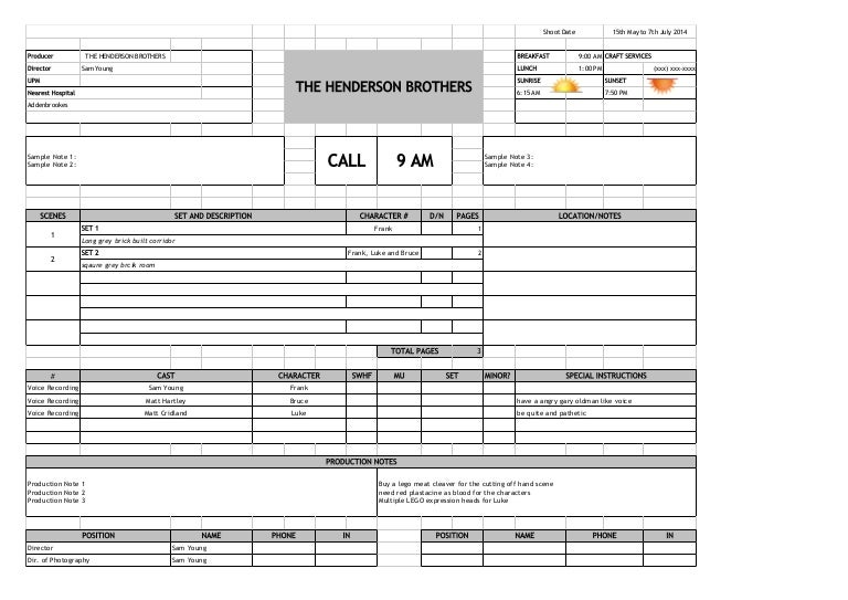 Call sheet template single page call sheet – Call Sheets Template