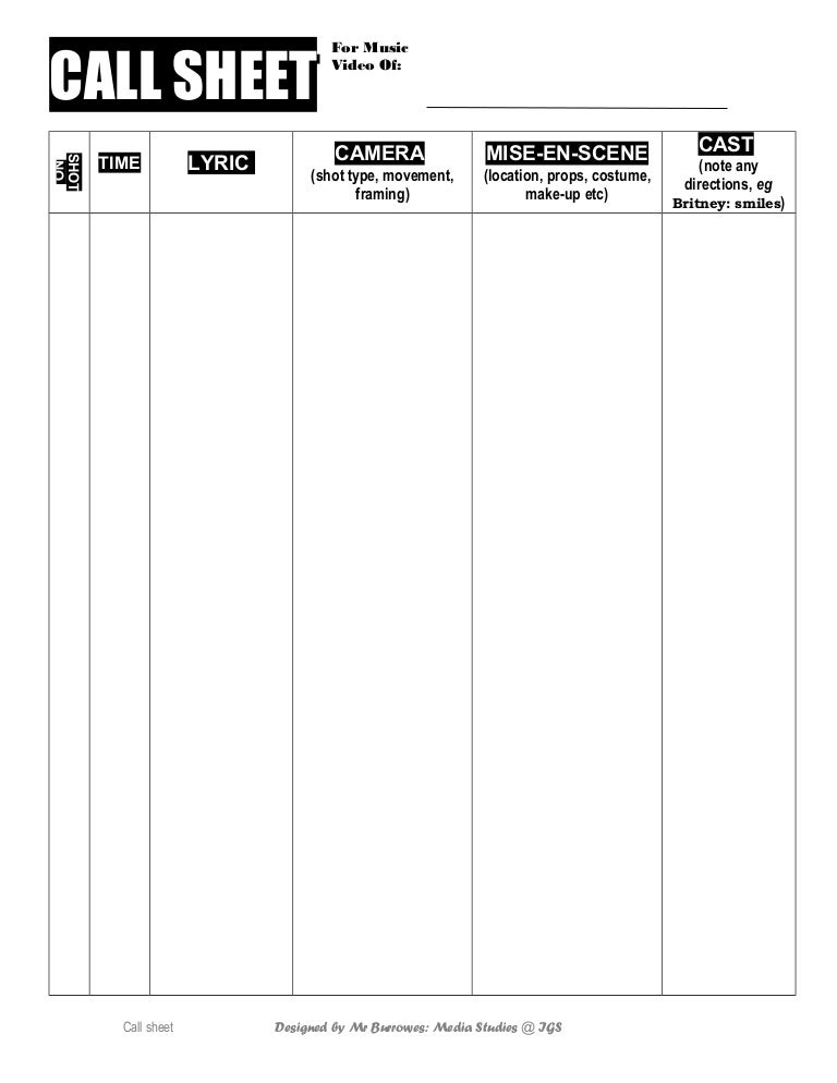 Music Video Call Sheet Template