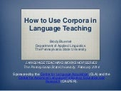 How to Use Corpora in Language Teaching
