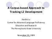 A Corpus-based Approach to Tracking L2 Development