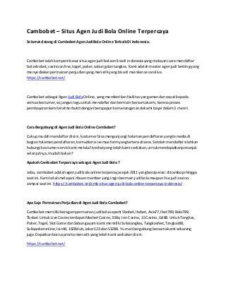 Cambobet - Situs Agen Judi Bola Online Terpercaya