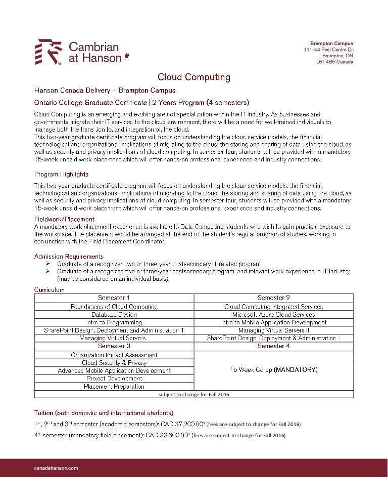 Cambrian College Cloud Computing