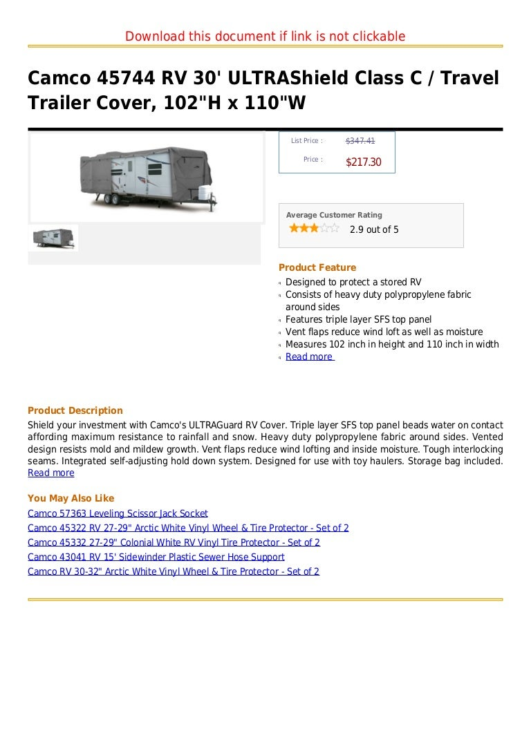Camco 45744 Rv 30 Ultra Shield Class C Travel Trailer Cover 102 H