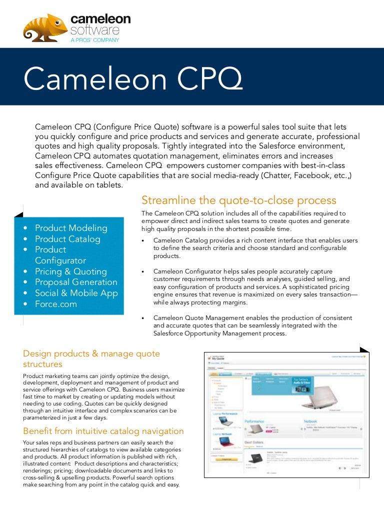 Price Quote Cameleon Cpq