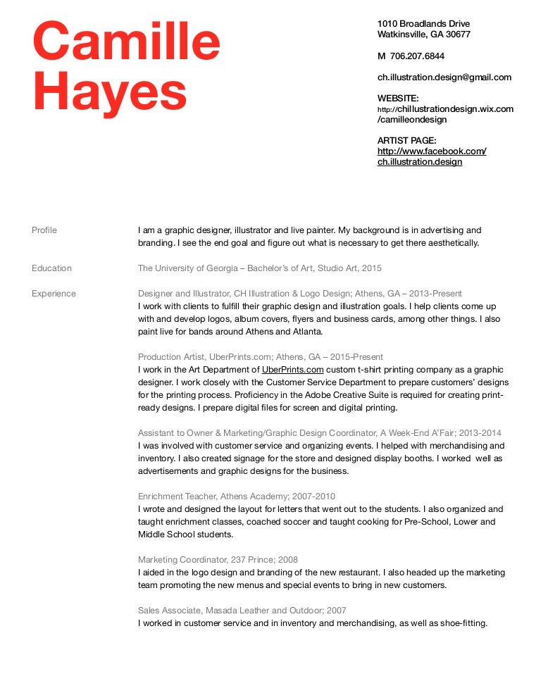 camille hayes 2016 resume