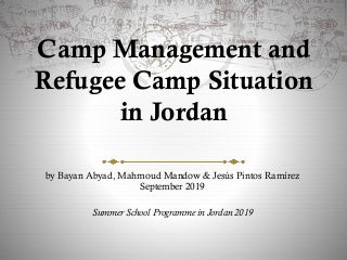 Camp Management and Refugee Camp Situation in Jordan