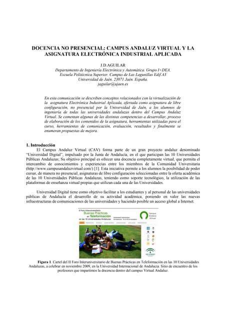 TAEE 2010:DOCENCIA NO PRESENCIAL: CAMPUS ANDALUZ VIRTUAL Y LA ASIGNATURA ELECTRÓNICA INDUSTRIAL APLICADA