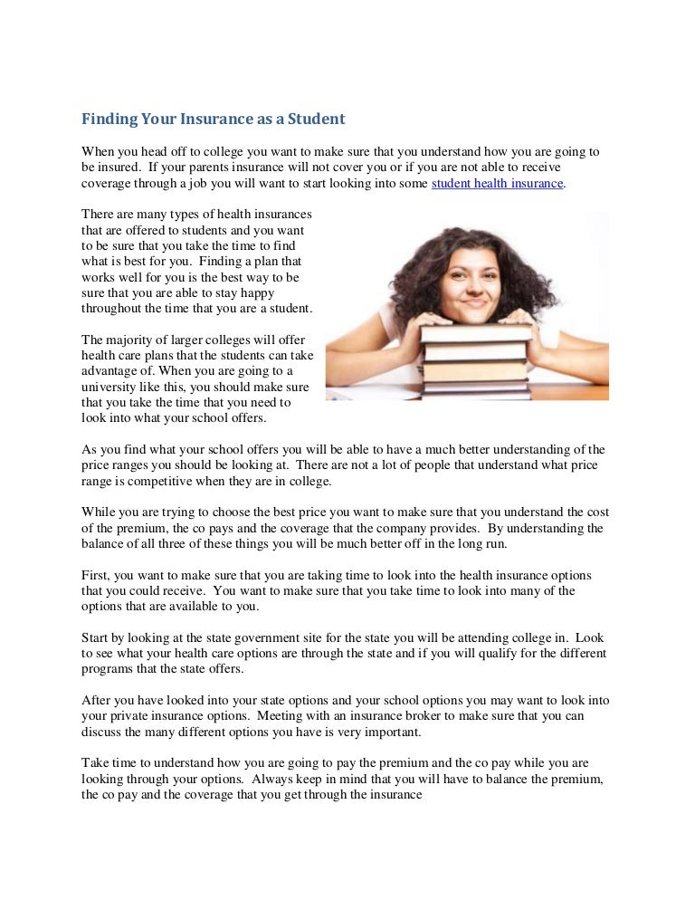 finding your insurance as a studentcampusinsurance9 12 11findingyourinsuranceasastudentrachel 140305153145 phpapp02 thumbnail 4 jpg?cb\u003d1394033746