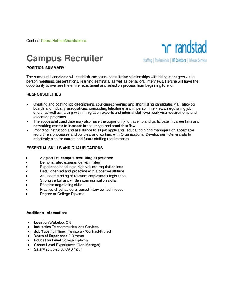Campus Recruiter Waterloo – Recruiting Manager Resume