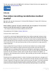 Can video recording revolutionise medical quality    the bmj