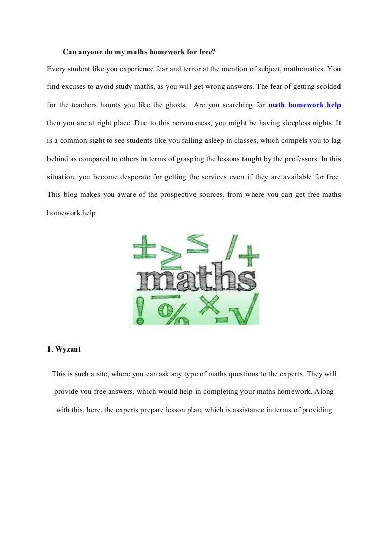 Do My Math Homework Free
