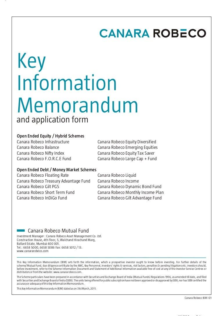 canara robeco mutual fund nomination form