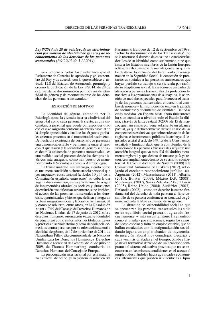 1. Canarias - Ley integral Transexualidad. Noviembre 2014